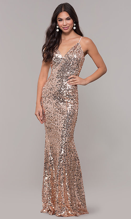 Image of long sequin v-neck prom dress. Style: LP-25944 Front Image