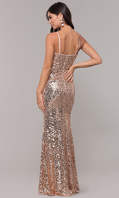 Image of long sequin v-neck prom dress. Style: LP-25944 Back Image