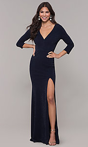 Image of navy long 3/4-sleeve v-neck prom dress. Style: LP-25783 Detail Image 3