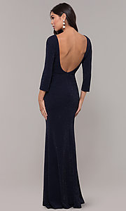 Image of navy long 3/4-sleeve v-neck prom dress. Style: LP-25783 Back Image