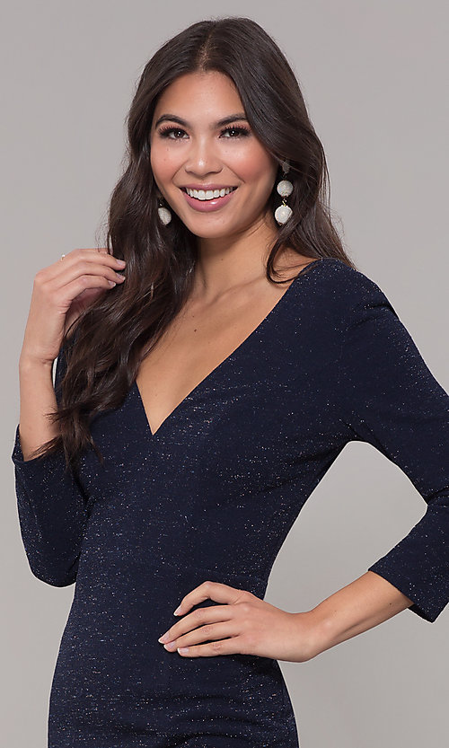 Image of navy long 3/4-sleeve v-neck prom dress. Style: LP-25783 Detail Image 1