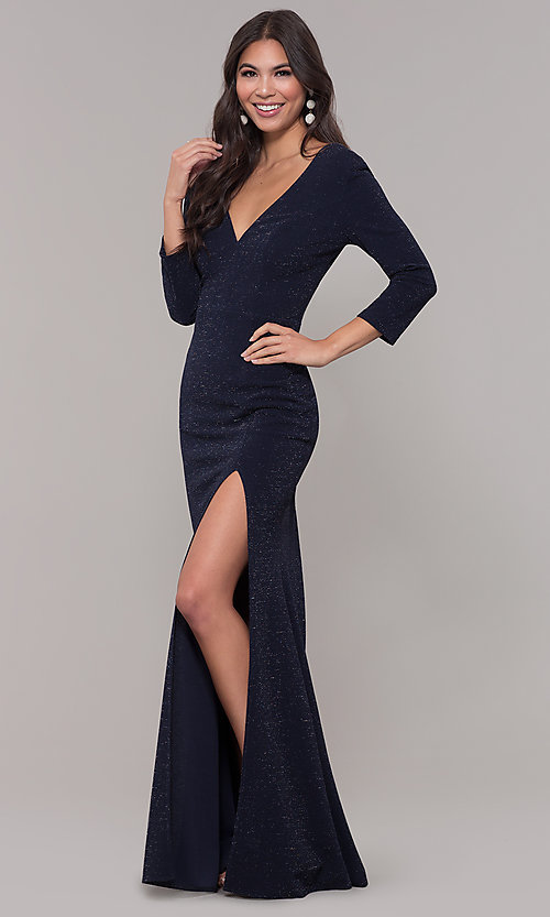 Image of navy long 3/4-sleeve v-neck prom dress. Style: LP-25783 Front Image