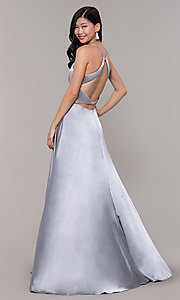 Image of long open-back designer prom dress with side slit. Style: CLA-3712 Detail Image 4