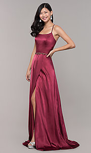 Image of long open-back designer prom dress with side slit. Style: CLA-3712 Back Image
