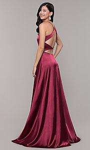 Image of long open-back designer prom dress with side slit. Style: CLA-3712 Front Image
