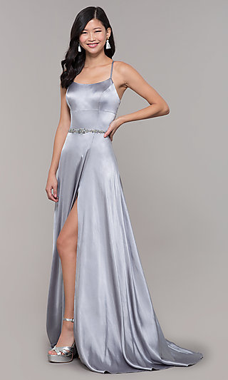 2993891fffae Silver Evening Gowns and Sequin Prom Dresses -PromGirl