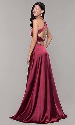 Long Open-Back Designer Prom Dress with Side Slit