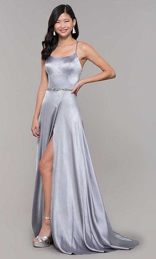 Image of long open-back designer prom dress with side slit. Style: CLA-3712 Detail Image 3