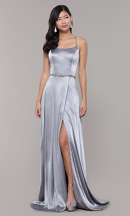 Image of long open-back designer prom dress with side slit. Style: CLA-3712 Detail Image 7