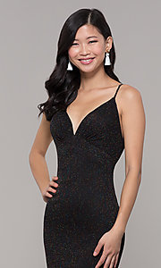 Image of glitter v-neck long open-back prom dress - PromGirl Style: CLA-3728 Detail Image 2