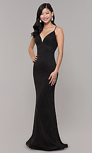 Image of glitter v-neck long open-back prom dress - PromGirl Style: CLA-3728 Detail Image 3