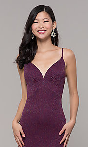 Image of glitter v-neck long open-back prom dress - PromGirl Style: CLA-3728 Detail Image 6
