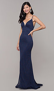 Image of glitter v-neck long open-back prom dress - PromGirl Style: CLA-3728 Detail Image 7