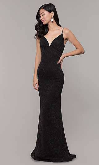 Glitter V-Neck Long Open-Back Prom Dress - PromGirl