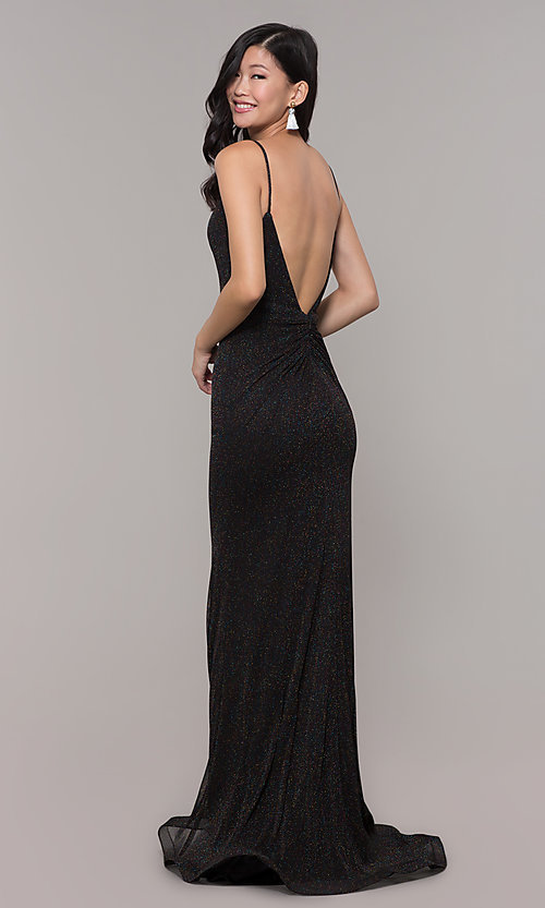 Image of glitter v-neck long open-back prom dress - PromGirl Style: CLA-3728 Front Image
