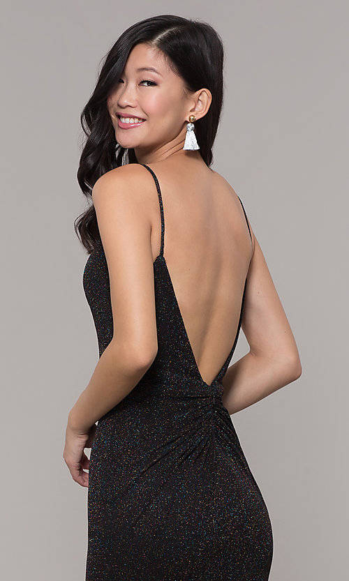 Image of glitter v-neck long open-back prom dress - PromGirl Style: CLA-3728 Detail Image 1