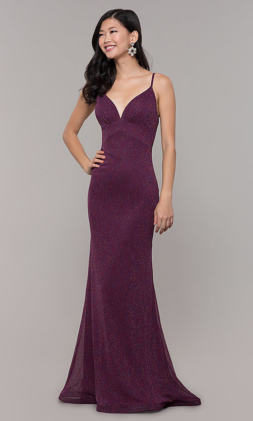 Image of glitter v-neck long open-back prom dress - PromGirl Style: CLA-3728 Detail Image 4
