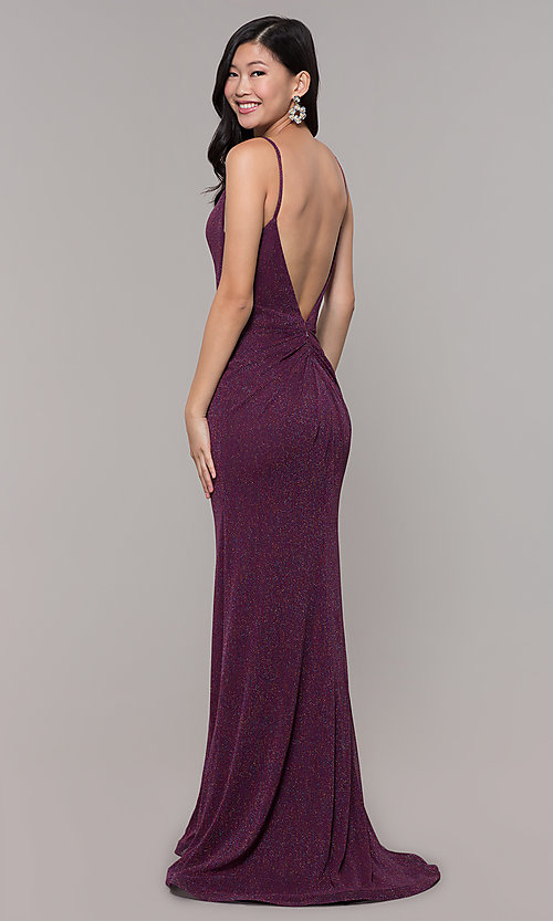 Image of glitter v-neck long open-back prom dress - PromGirl Style: CLA-3728 Detail Image 5