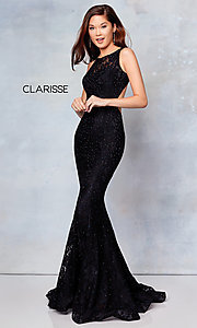 Image of long lace prom dress with open back. Style: CLA-3748 Detail Image 7