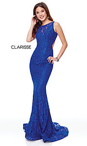 Image of long lace prom dress with open back. Style: CLA-3748 Detail Image 6