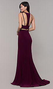 Image of long two-piece high-neck prom dress. Style: CLA-3761 Back Image