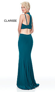 Image of long two-piece high-neck prom dress. Style: CLA-3761 Detail Image 7