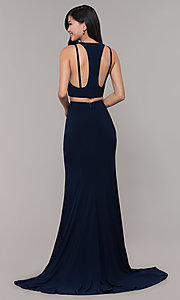 Image of long two-piece high-neck prom dress. Style: CLA-3761 Detail Image 4