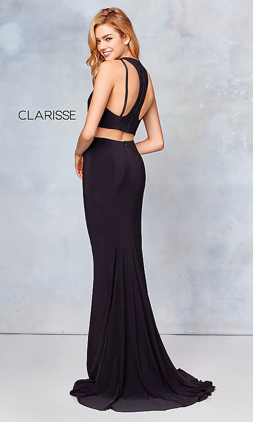 Image of long two-piece high-neck prom dress. Style: CLA-3761 Detail Image 8