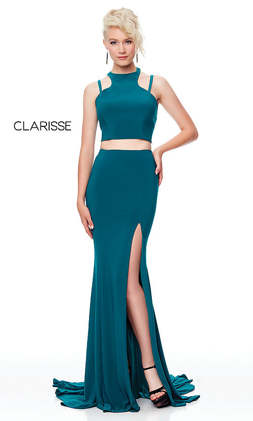 Image of long two-piece high-neck prom dress. Style: CLA-3761 Detail Image 6