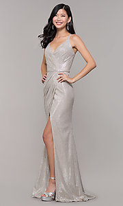 Image of long metallic v-neck prom dress with slit. Style: CLA-3766 Detail Image 6
