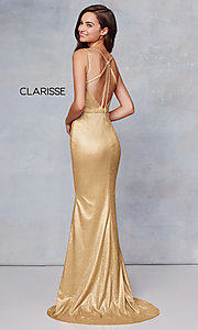 Image of long metallic v-neck prom dress with slit. Style: CLA-3766 Front Image