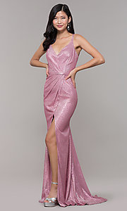 Image of long metallic v-neck prom dress with slit. Style: CLA-3766 Detail Image 2