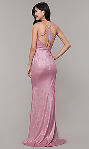 Image of long metallic v-neck prom dress with slit. Style: CLA-3766 Detail Image 3