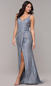 Image of long metallic v-neck prom dress with slit. Style: CLA-3766 Back Image