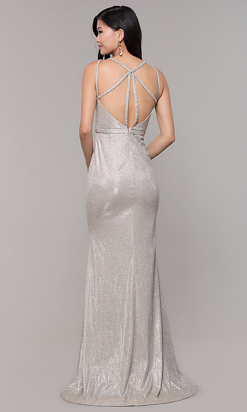 Image of long metallic v-neck prom dress with slit. Style: CLA-3766 Detail Image 7