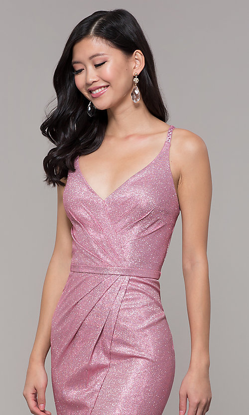 Image of long metallic v-neck prom dress with slit. Style: CLA-3766 Detail Image 4