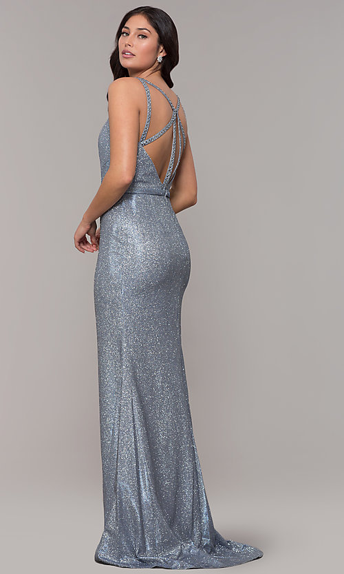 Image of long metallic v-neck prom dress with slit. Style: CLA-3766 Detail Image 1