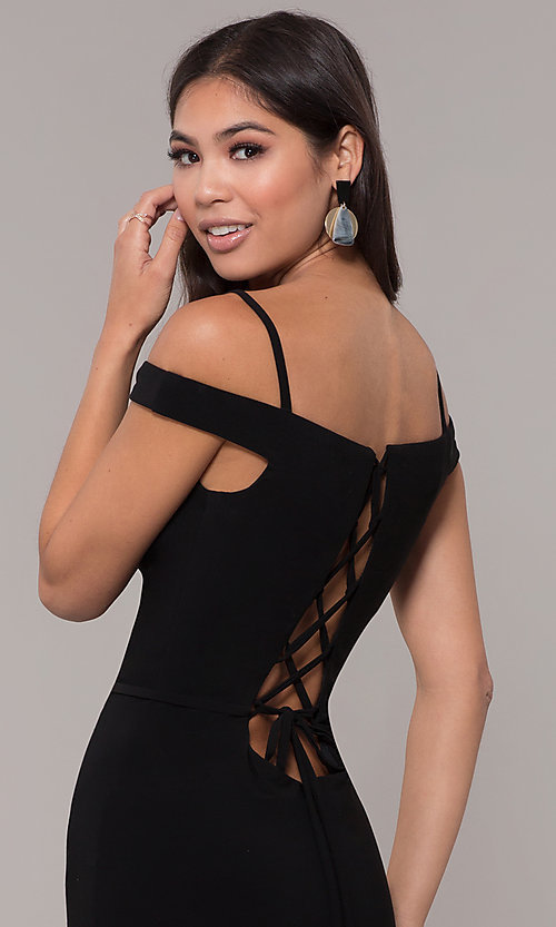 Image of long off-the-shoulder corset-tie prom dress.  Style: CLA-3772 Detail Image 2