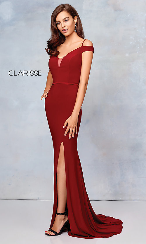 Image of long off-the-shoulder corset-tie prom dress.  Style: CLA-3772 Detail Image 4