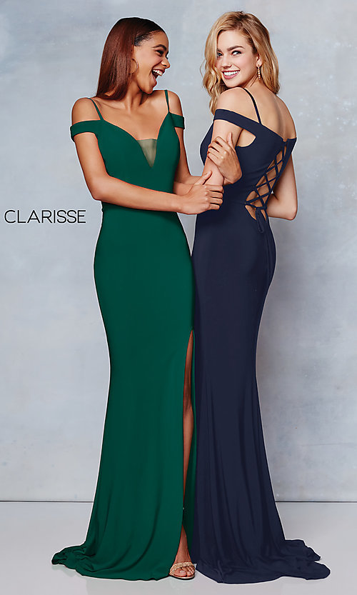 Image of long off-the-shoulder corset-tie prom dress.  Style: CLA-3772 Detail Image 7