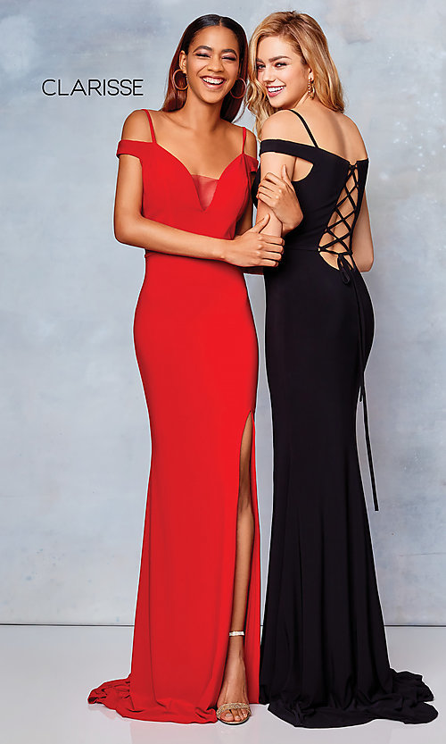 Image of long off-the-shoulder corset-tie prom dress.  Style: CLA-3772 Detail Image 5