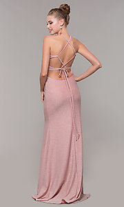 Image of high-neck long glitter prom dress with open corset. Style: CLA-3789 Back Image