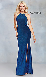 Image of high-neck long glitter prom dress with open corset. Style: CLA-3789 Detail Image 3