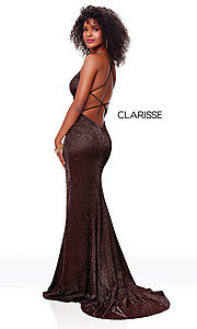 Image of v-neck long backless glitter prom dress with train. Style: CLA-3790 Detail Image 6