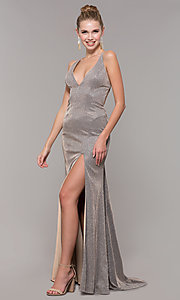Image of v-neck long backless glitter prom dress with train. Style: CLA-3790 Detail Image 3