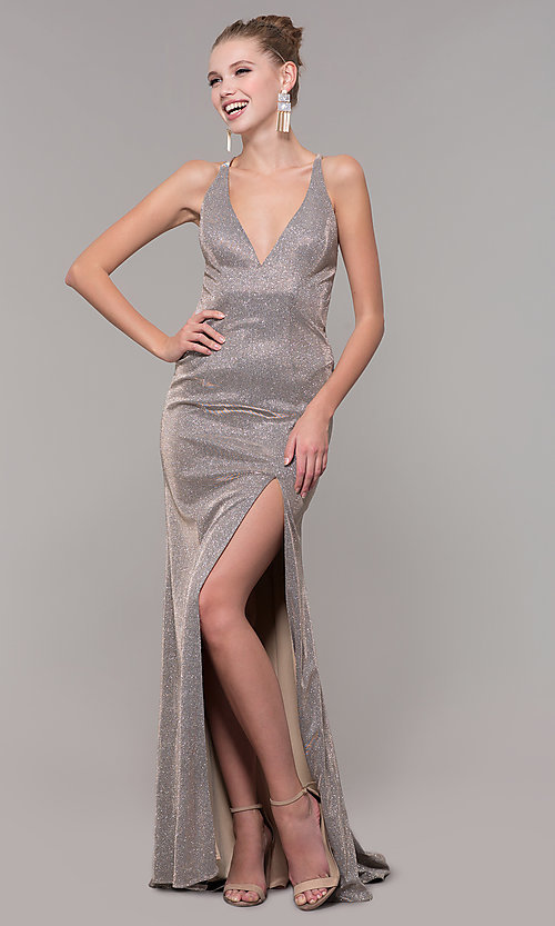 Image of v-neck long backless glitter prom dress with train. Style: CLA-3790 Front Image