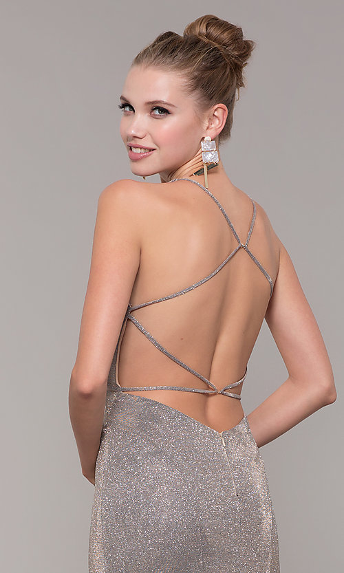Image of v-neck long backless glitter prom dress with train. Style: CLA-3790 Detail Image 2