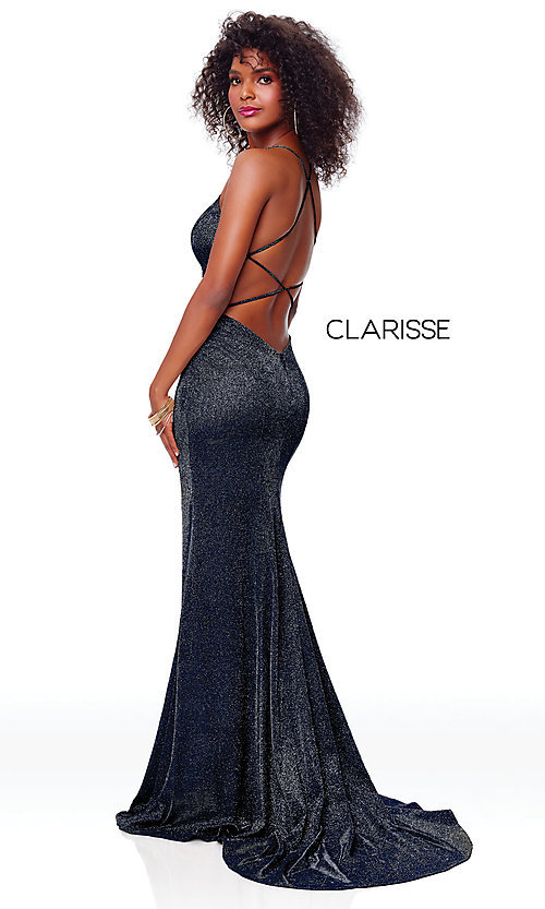 Image of v-neck long backless glitter prom dress with train. Style: CLA-3790 Detail Image 7