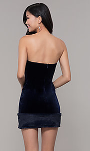 Image of short strapless navy blue velvet holiday dress. Style: AC-SD24684B Back Image