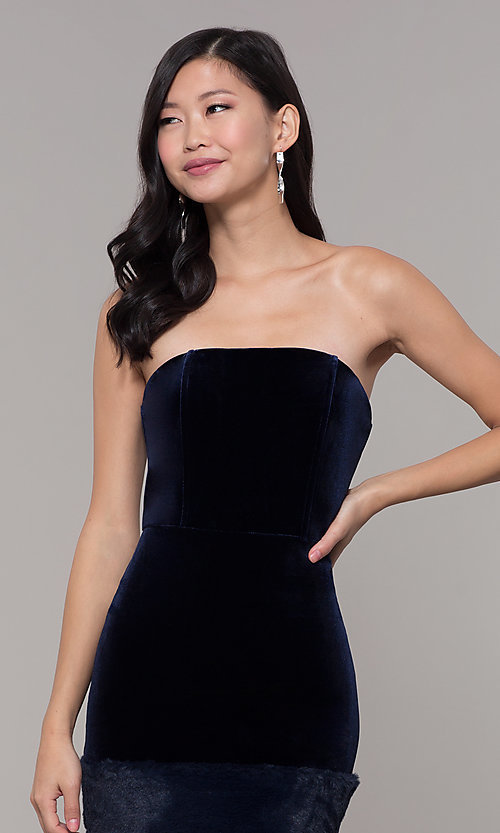 Image of short strapless navy blue velvet holiday dress. Style: AC-SD24684B Detail Image 1